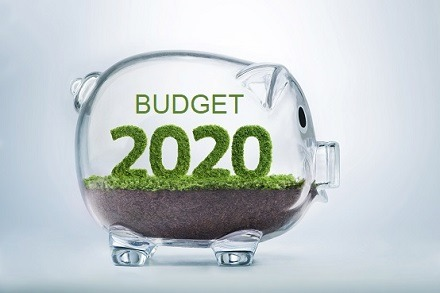 Budget 2020 glass piggy bank with words Budget 2020
